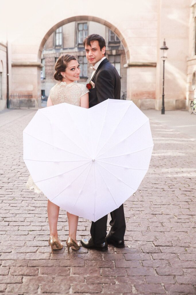 Couple by the danish parliarment after getting married